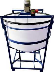 conical dosing tank, mixing vessel, stirring tank, stirred tank, agitator, frame, HDPE tank, plastic tanks