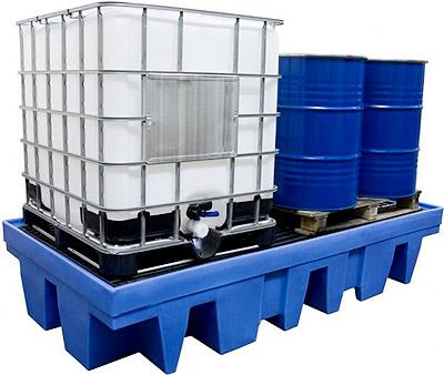 ibc bund, ibc container spill tray, spill containment pallet, sump pallet
